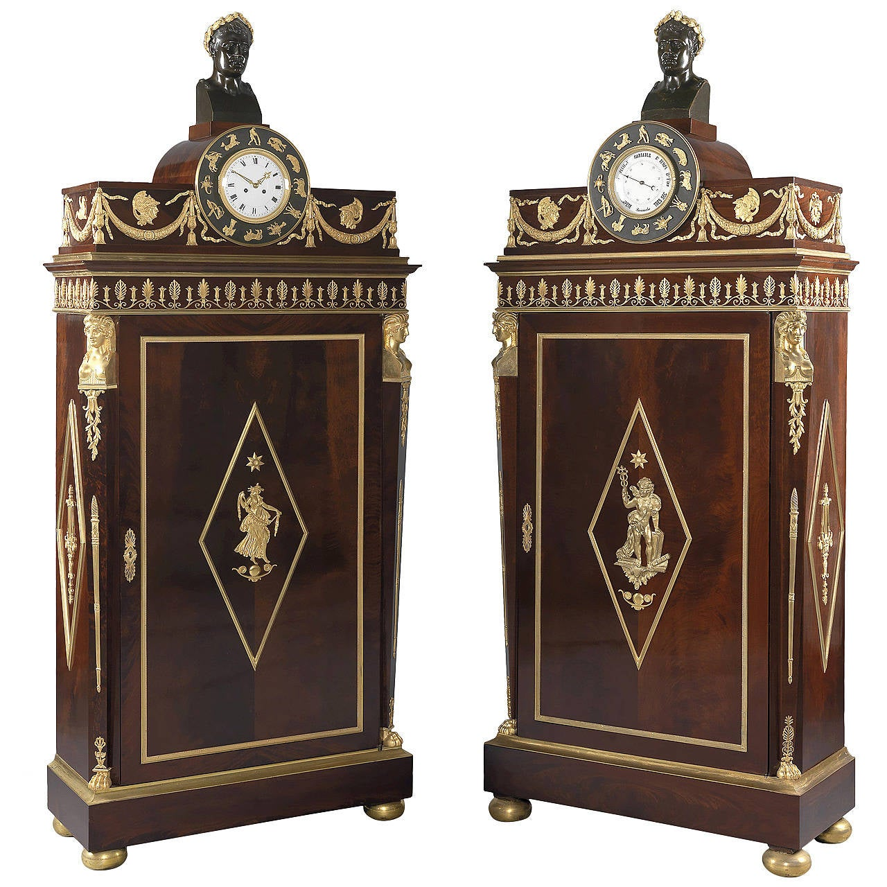Pair Of Empire Style Side Cabinets French Circa 1880 For