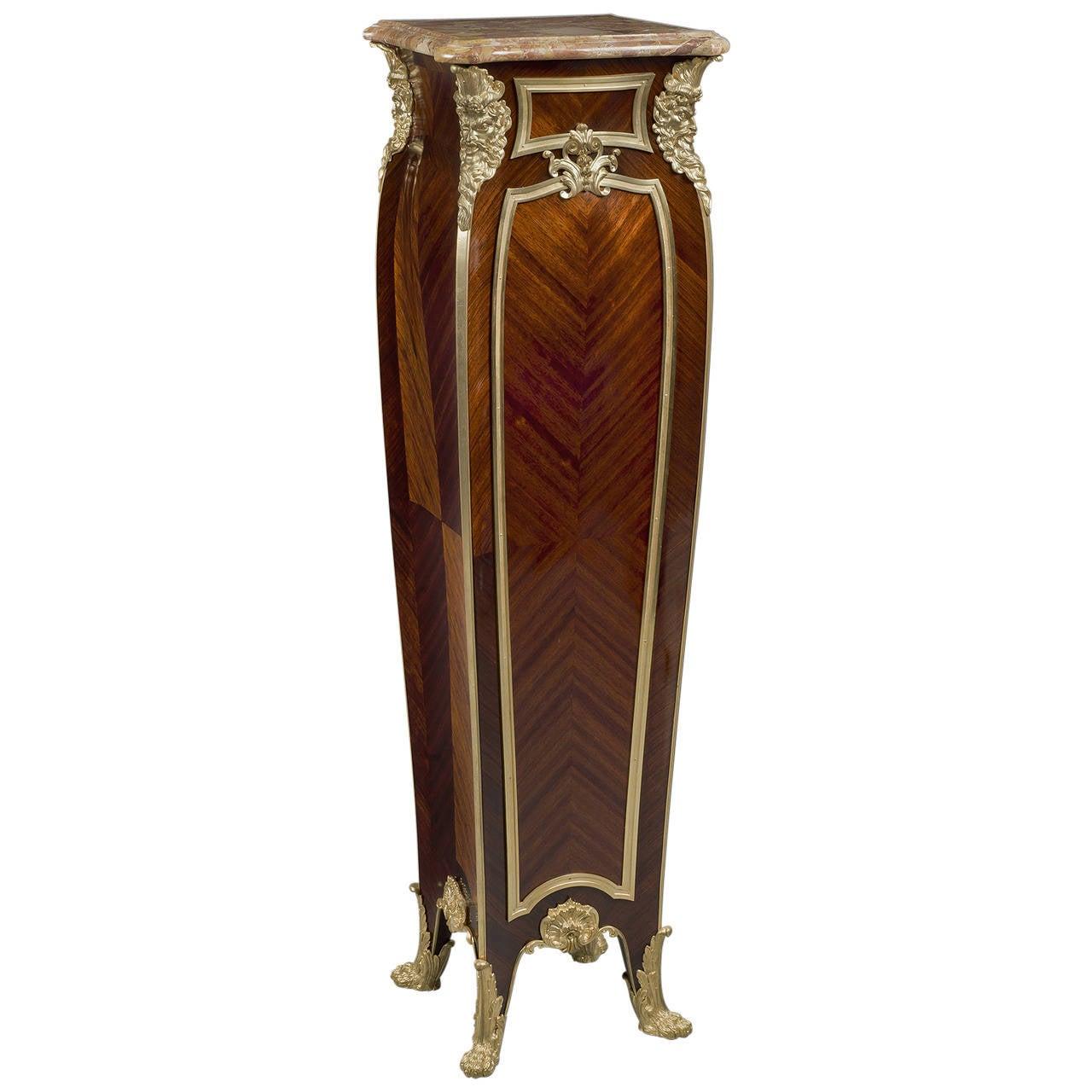 Louis XV Style Pedestal with Marble Top by Zwiener Jansen Successeur
