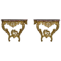 Pair of Louis XV Style Giltwood Console Tables, circa 1910