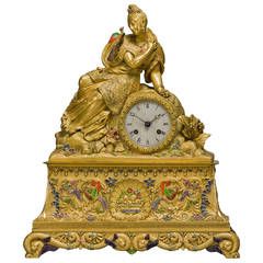 Important Chinoiserie Style Gilt Bronze and Enamel Figural Clock