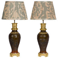 Pair of Japanese Bronze Vases Mounted as Lamps