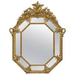 Hexagonal Giltwood Mirror, French, circa 1870