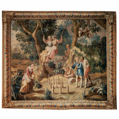 'The Swing' English 18th Century Pastoral Tapestry