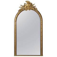 Empire Style Mahogany and Parcel-Gilt Mirror by Alix a Paris, circa 1880