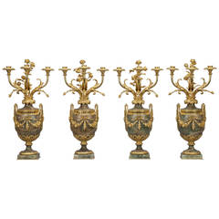 Set of Four Empire Style Marble Candelabrum, circa 1870