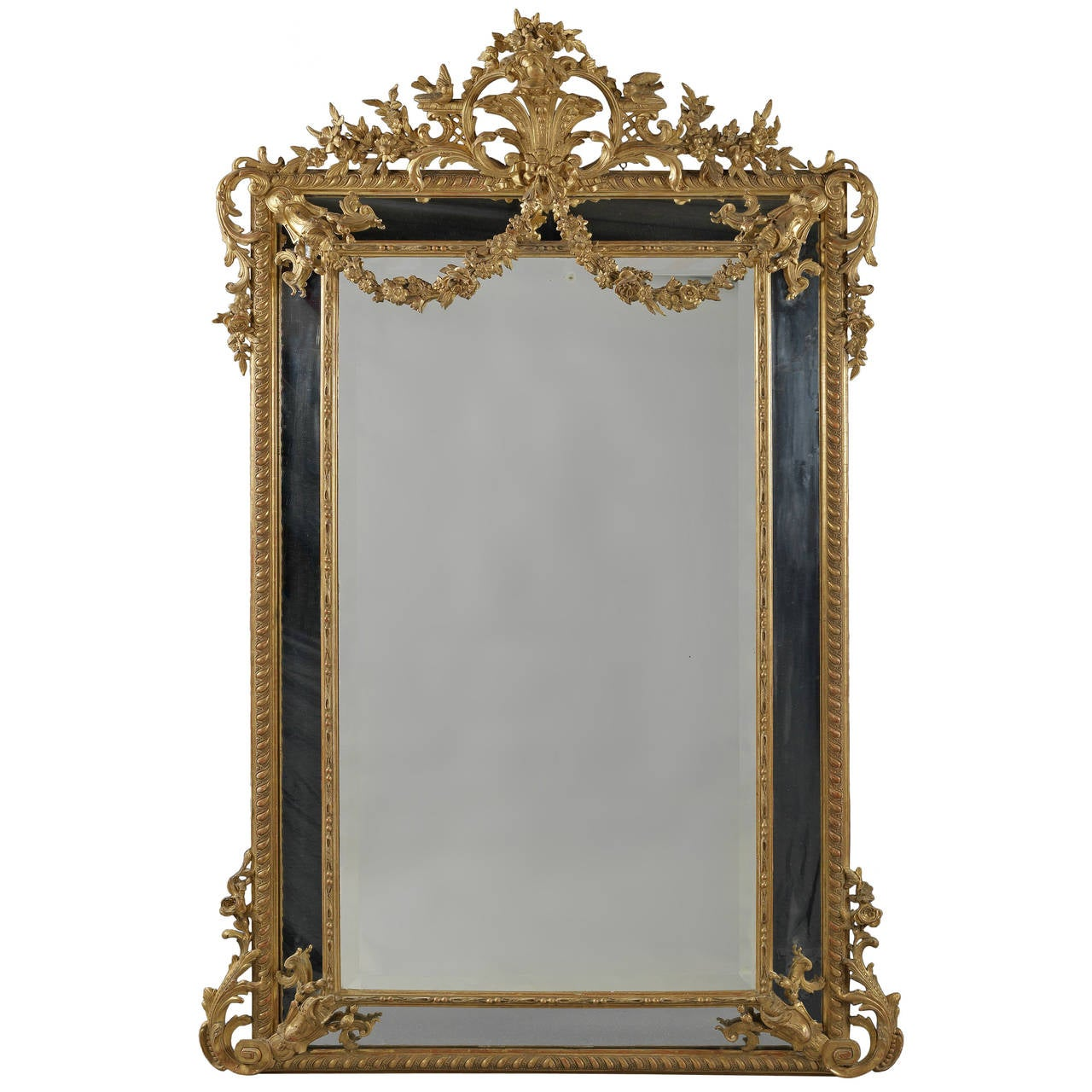 Louis XVI Style Marginal Frame, Carved Giltwood Mirror