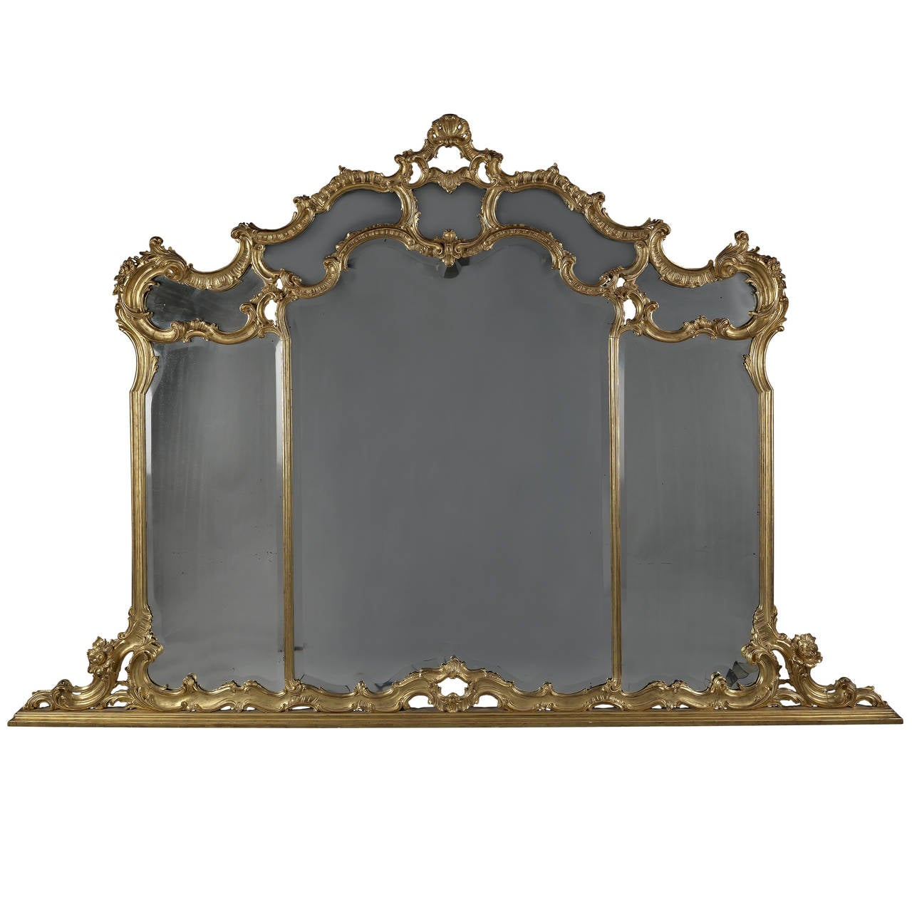 Large Carved Giltwod Overmantel Mirror 1