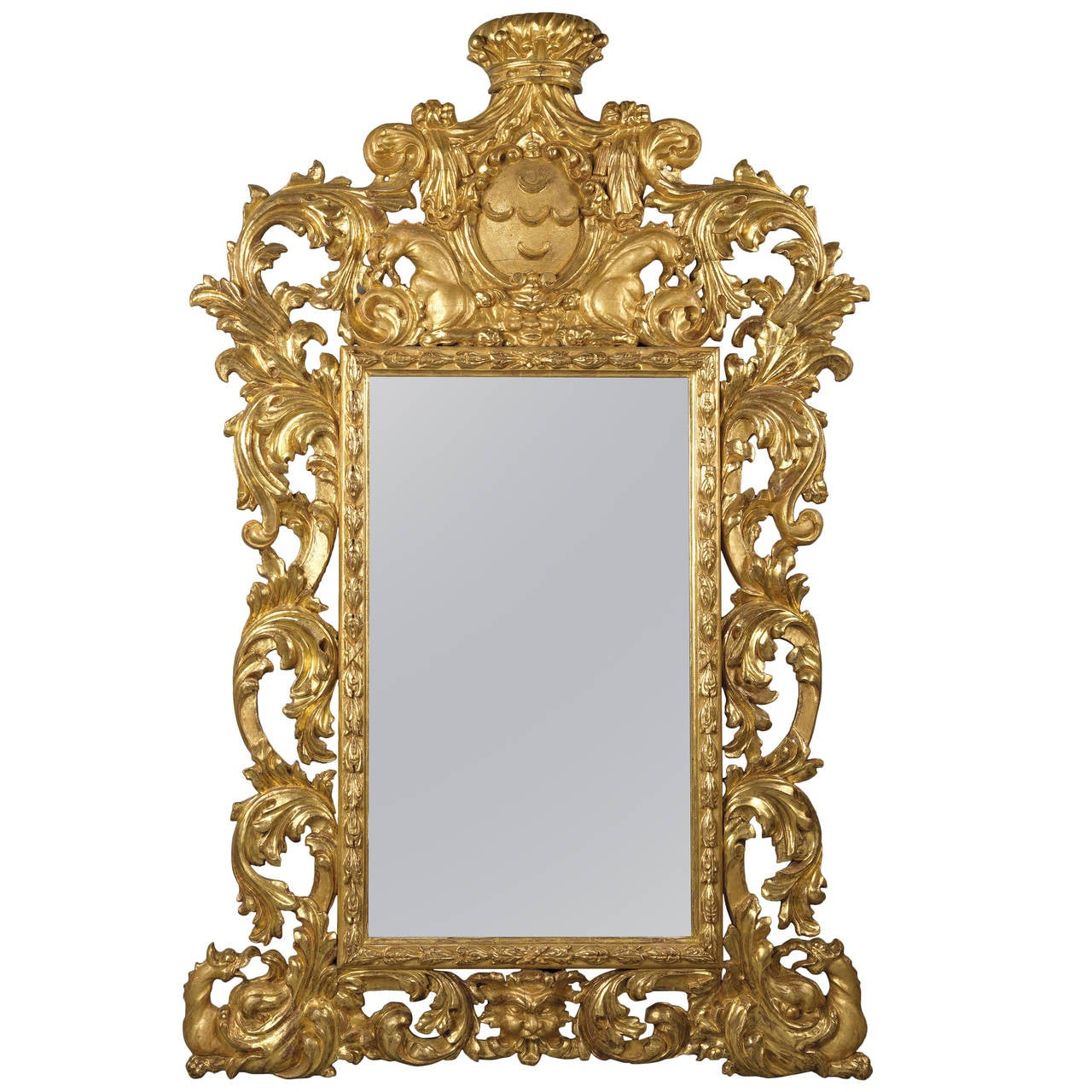 Large baroque style carved giltwood mirror at 1stdibs for Baroque style wall mirror