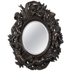 Venetian Carved Ebonized Mirror Attributed to Valentino Besarel, circa 1870