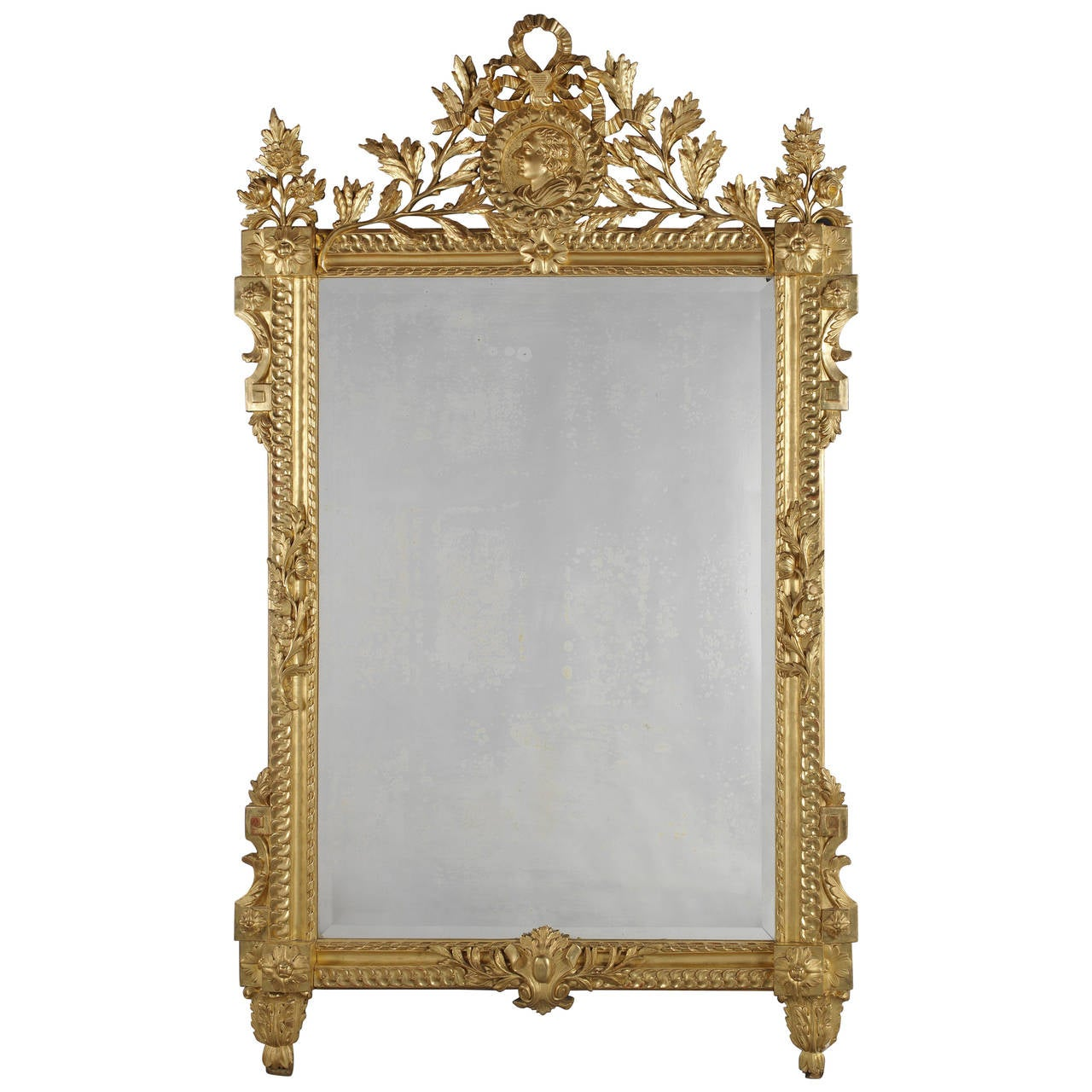 Louis XVI Style Carved Giltwood Mirror 1