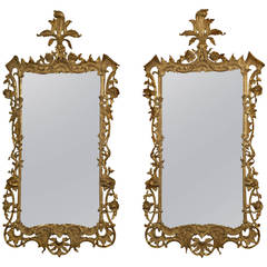 Pair of Carved Giltwood Mirrors in the Rococo Style