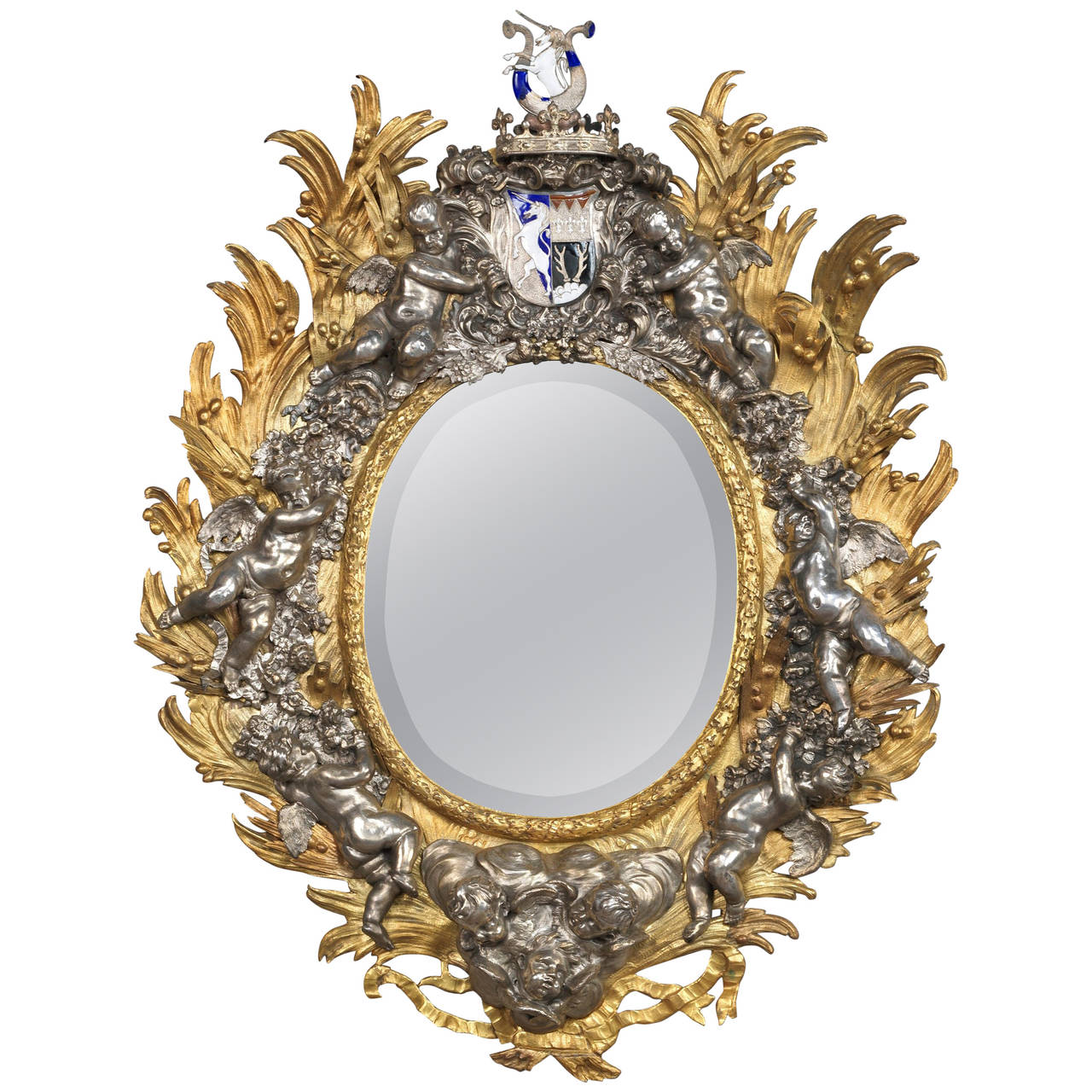 Baroque style armorial mirror at 1stdibs for Baroque mirror