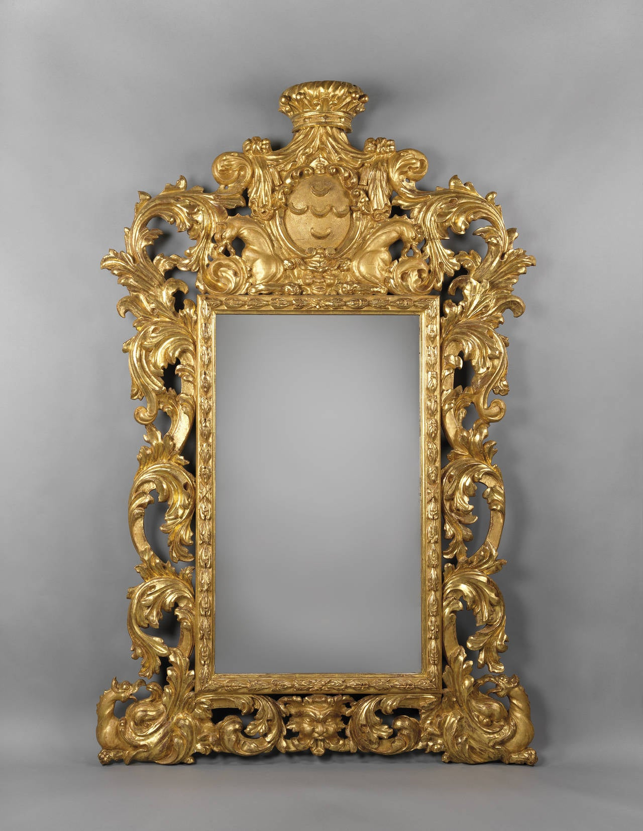 Baroque style carved giltwood mirror for sale at 1stdibs for Rectangular baroque mirror
