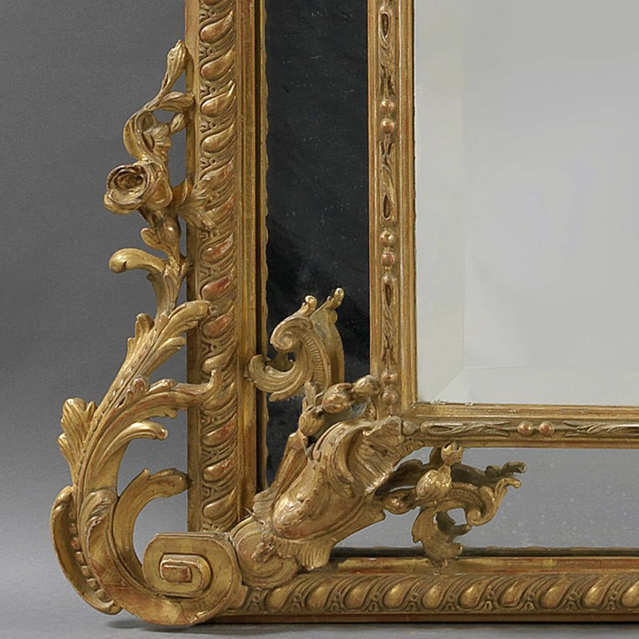 Louis XVI Style Marginal Frame, Carved Giltwood Mirror In Good Condition For Sale In London, GB