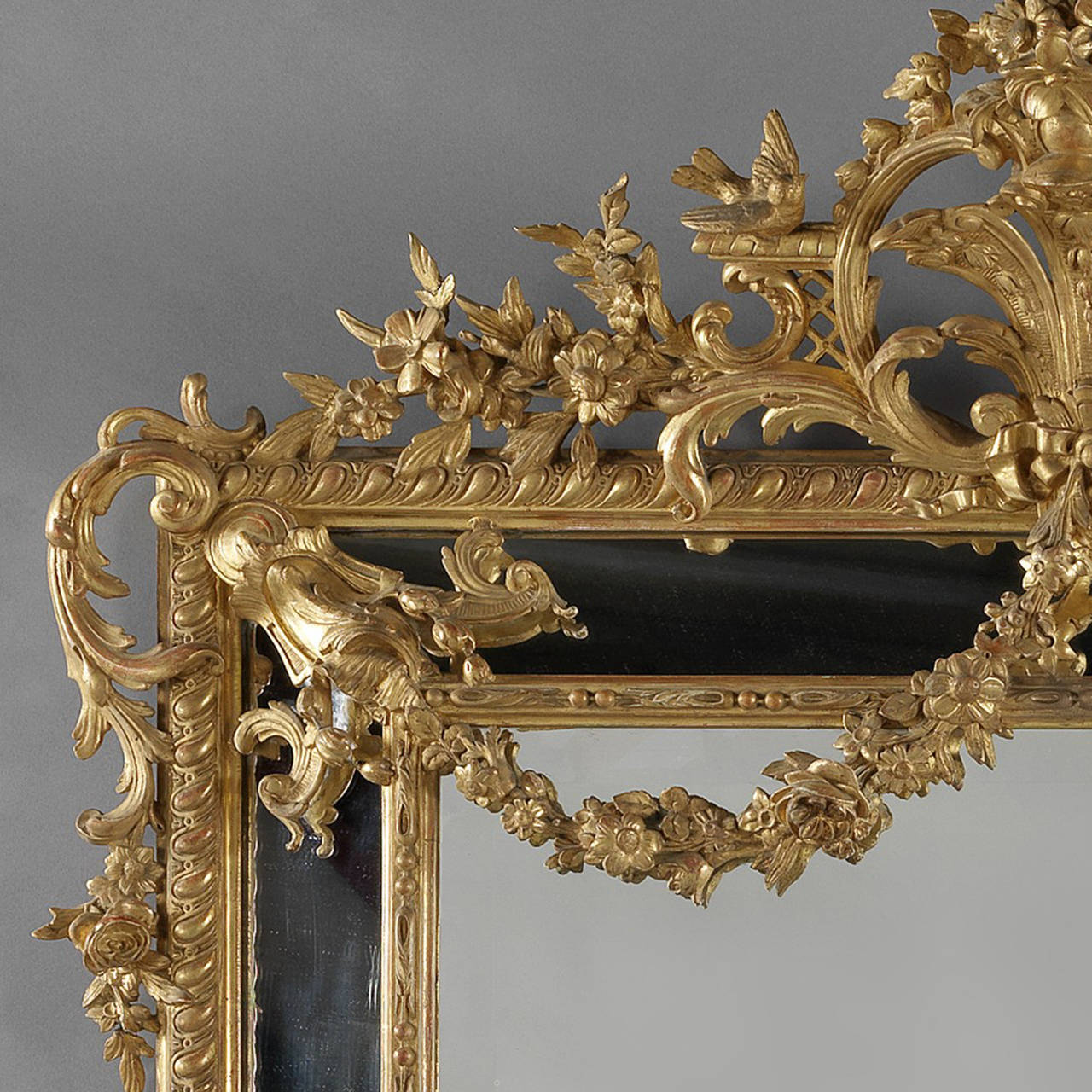 19th Century Louis XVI Style Marginal Frame, Carved Giltwood Mirror For Sale
