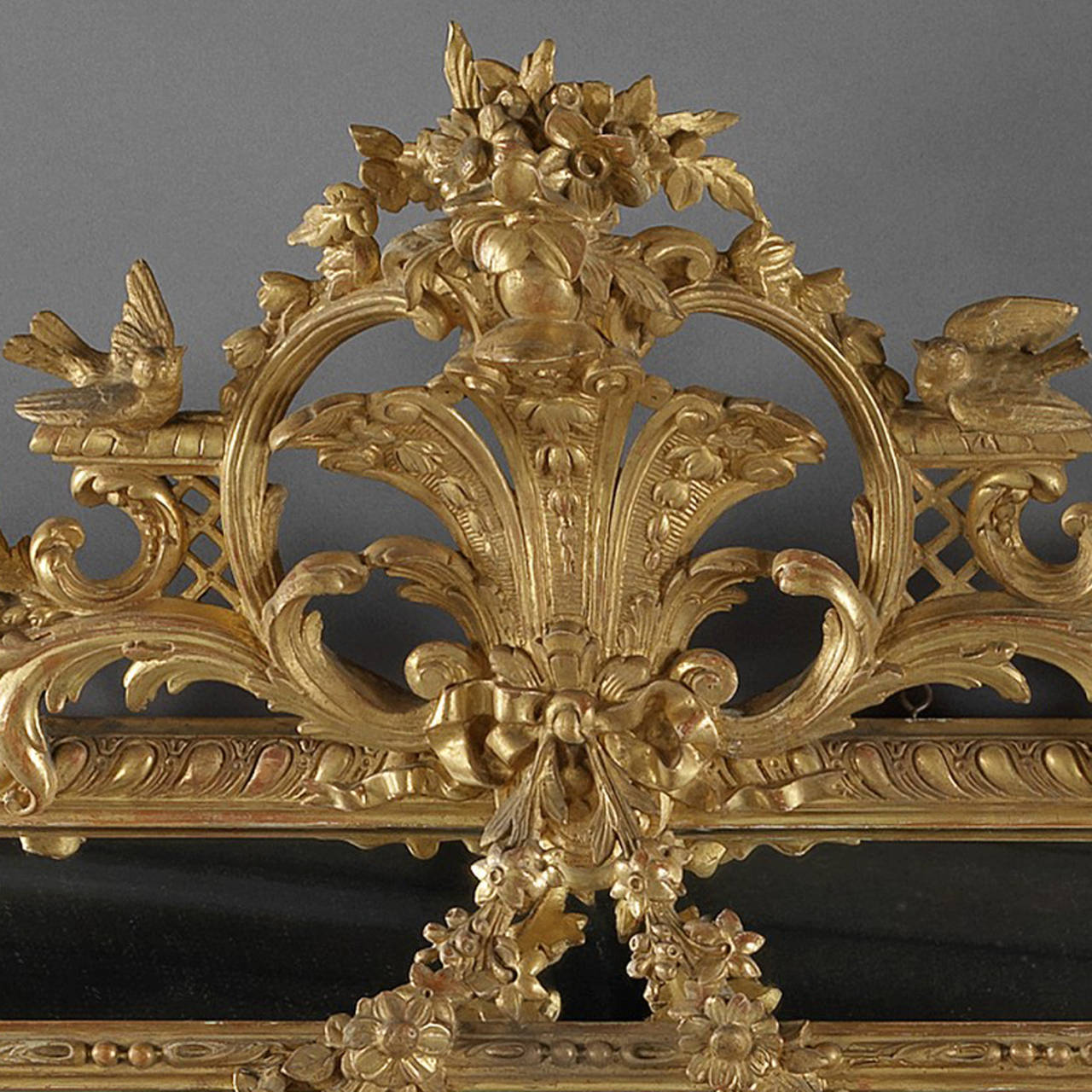 French Louis XVI Style Marginal Frame, Carved Giltwood Mirror For Sale
