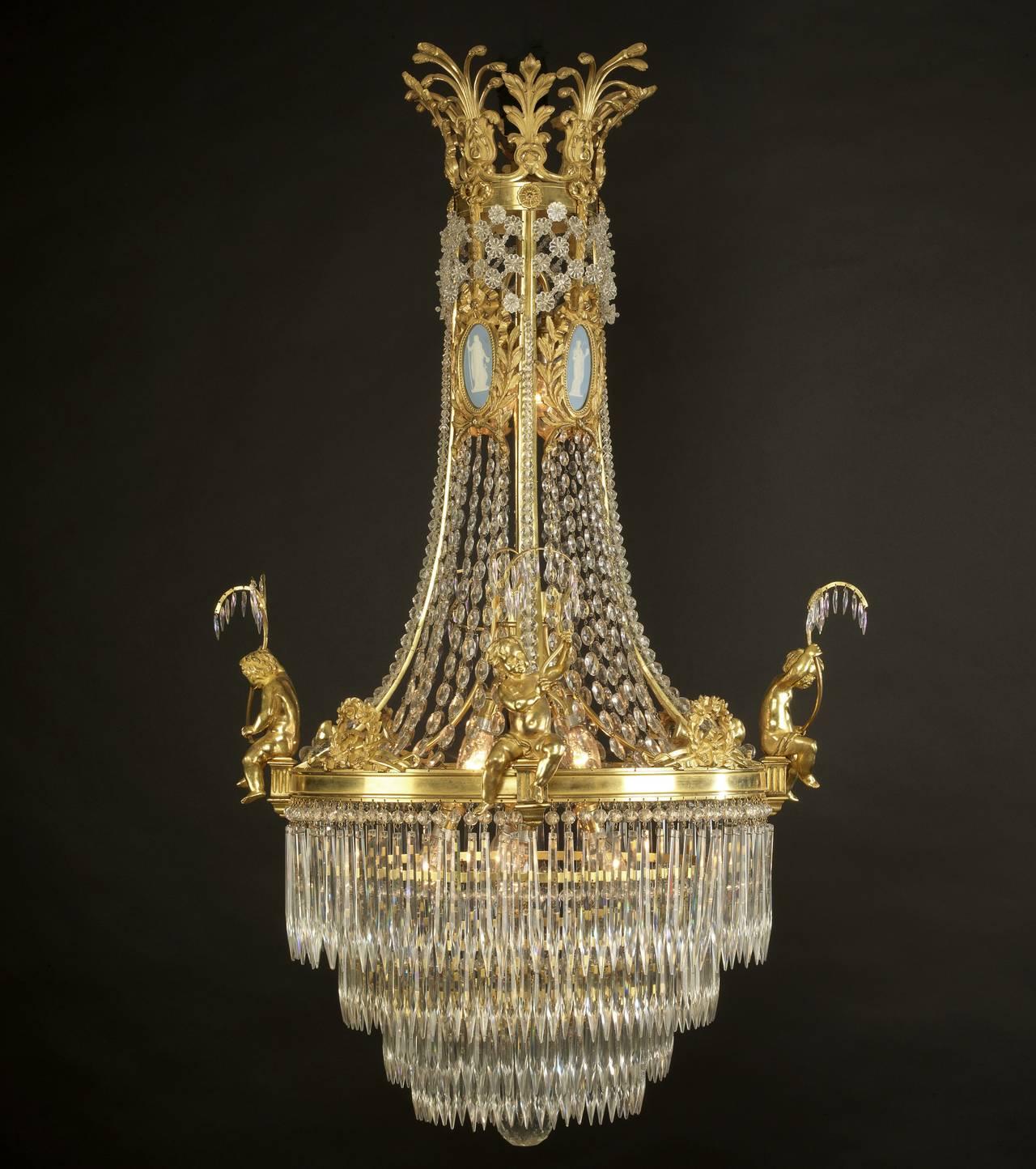 Louis XVI Style Cut Glass and Gilt Bronze