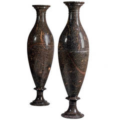 Large Pair of Swedish Porphyry Vases