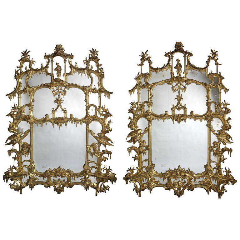 Pair of Chippendale 'Director' Style Chinoiserie Mirrors 1