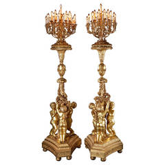 Monumental Pair of Giltwood Torchères, after Jacques Gondouin, circa 1870