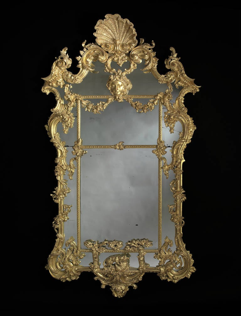 Carved giltwood mirror after thomas johnson for sale at for Baroque mirror
