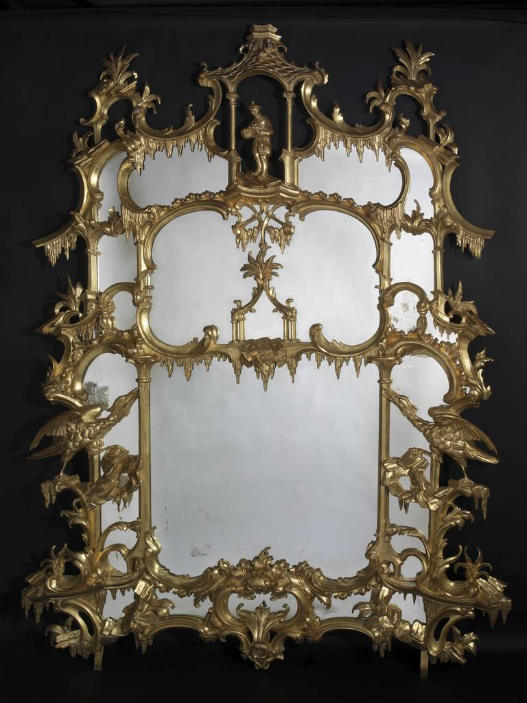 Pair of Chippendale 'Director' Style Chinoiserie Mirrors 4