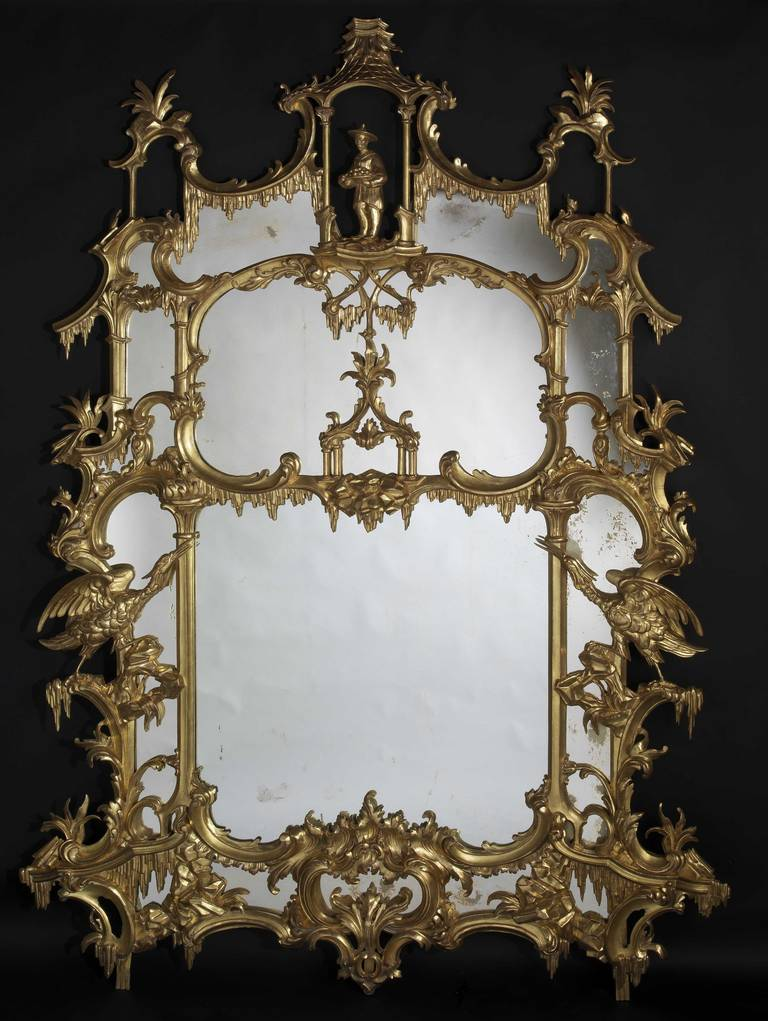 Pair of Chippendale 'Director' Style Chinoiserie Mirrors 3