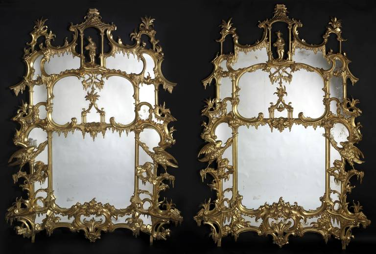 Pair of Chippendale 'Director' Style Chinoiserie Mirrors 2