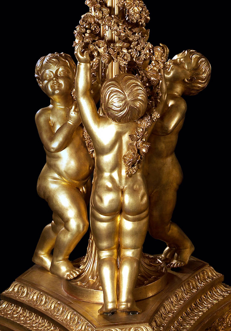 Large Pair of Giltwood Torchères, after Jacques Gondoin 4