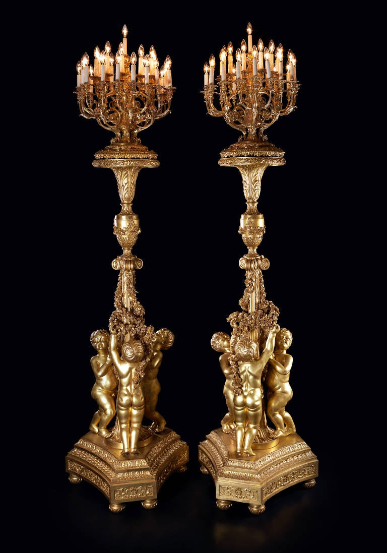 Large Pair of Giltwood Torchères, after Jacques Gondoin 2