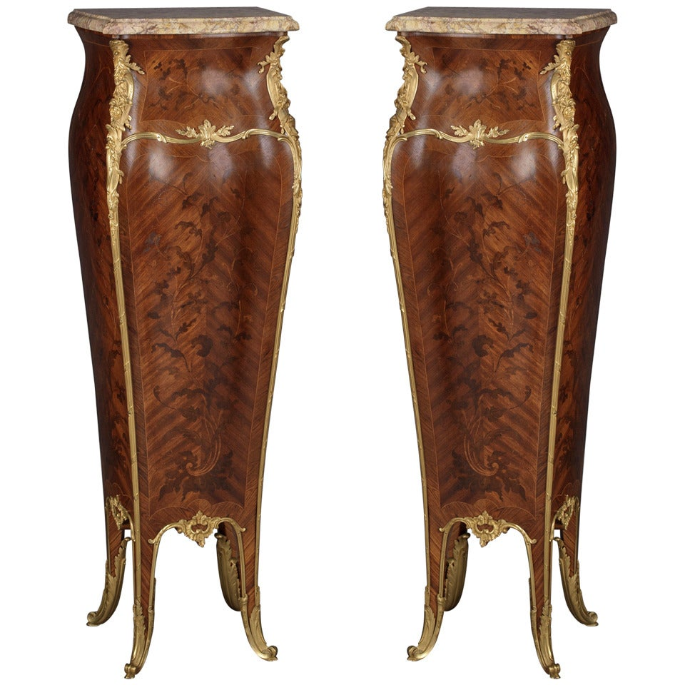Pair Of Louis Xv Style Marquetry Bombé Pedestals By Linke, French, Circa  1890 1