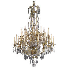 Large Louis XV Style Thirty-Light Cage Chandelier