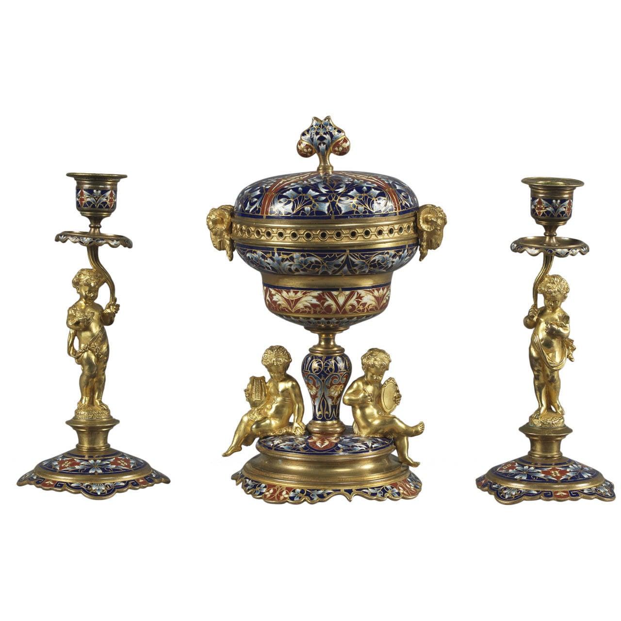 French 19th Century Gilt Bronze Champlevé Enamel Garniture Set