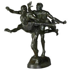 'Au But' (To the Goal) Bronze Sculpture By Boucher, Cast by Barbedienne