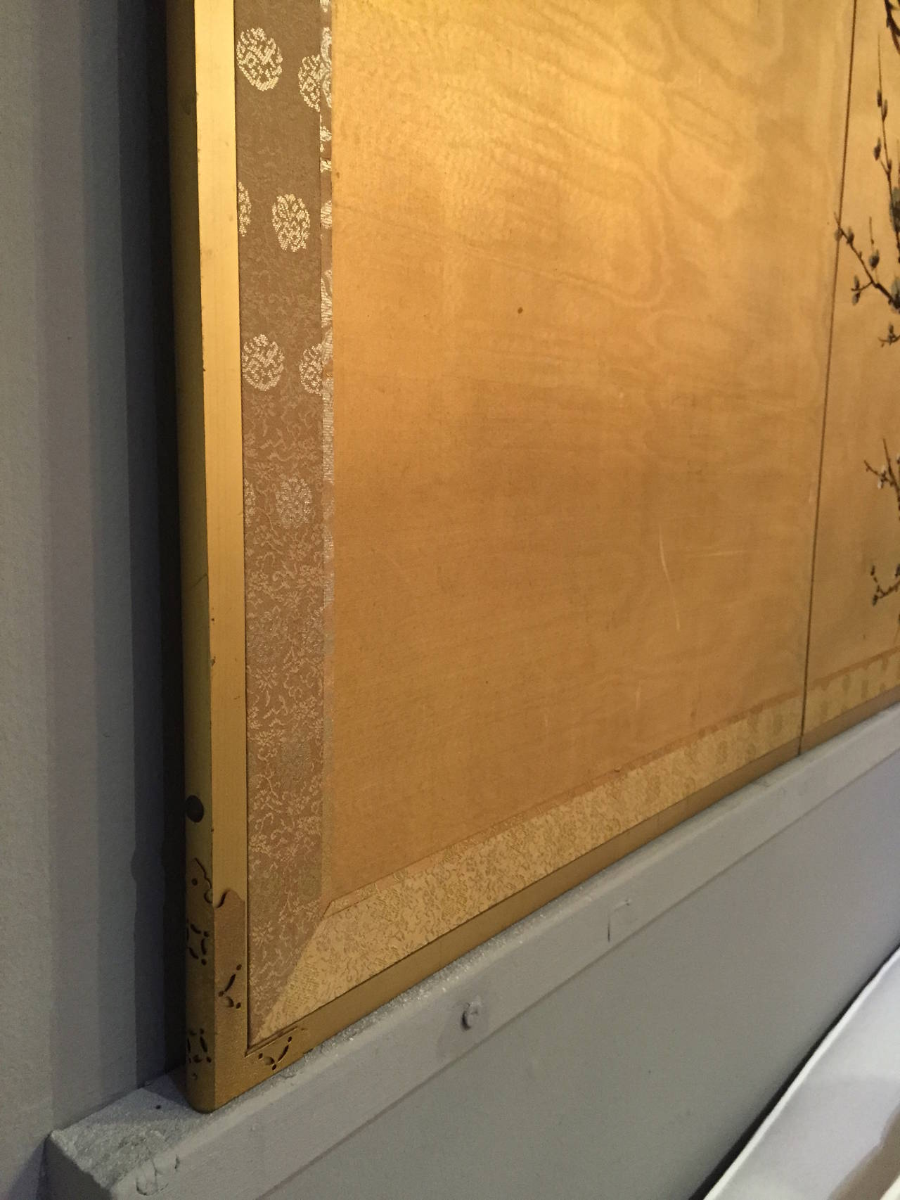 Byobu Antique Japanese Screen Painting Four Panels