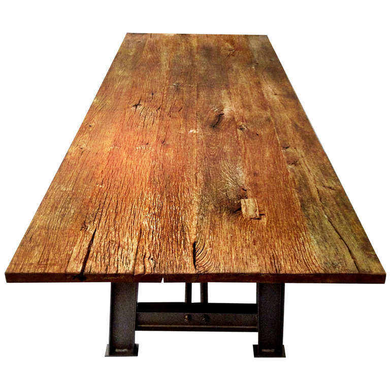 Industrial Design Table With Antique Oak Tabletop At 1stdibs