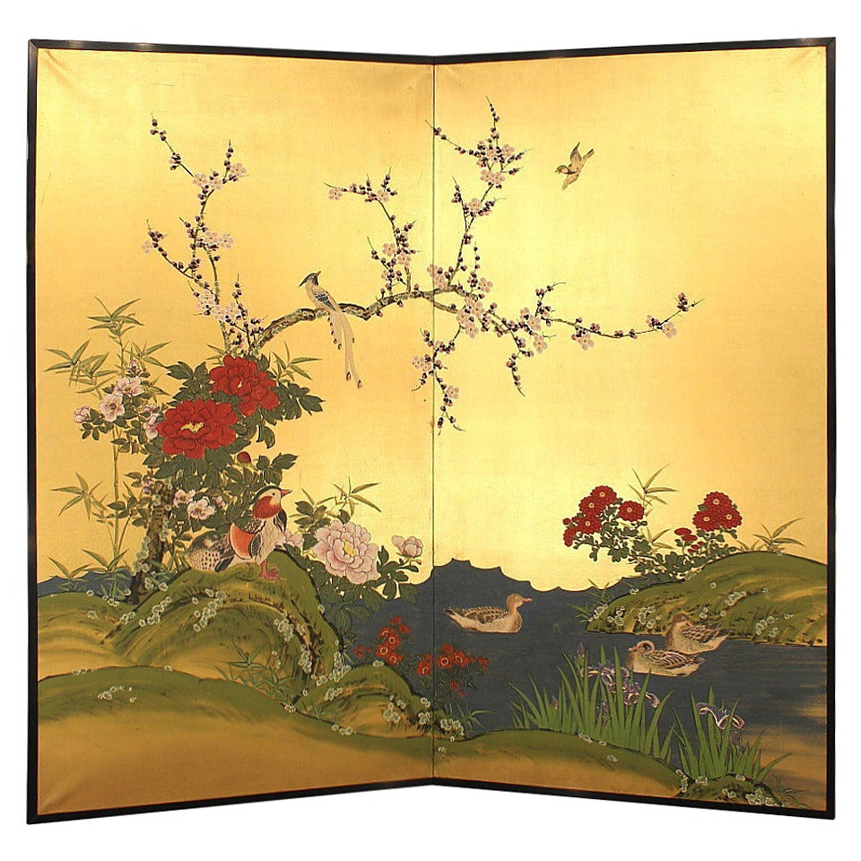 Japanese Gold Byobu Folding Screen Flowers And Birds 19th