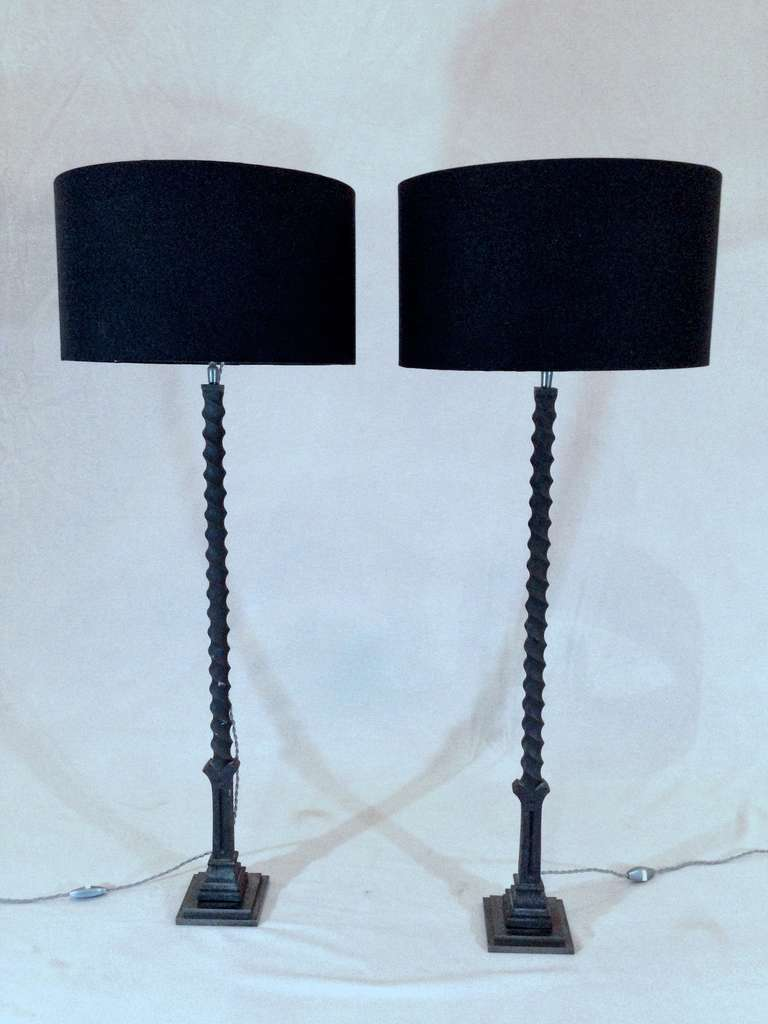 pair of wrought iron base lamps at 1stdibs. Black Bedroom Furniture Sets. Home Design Ideas