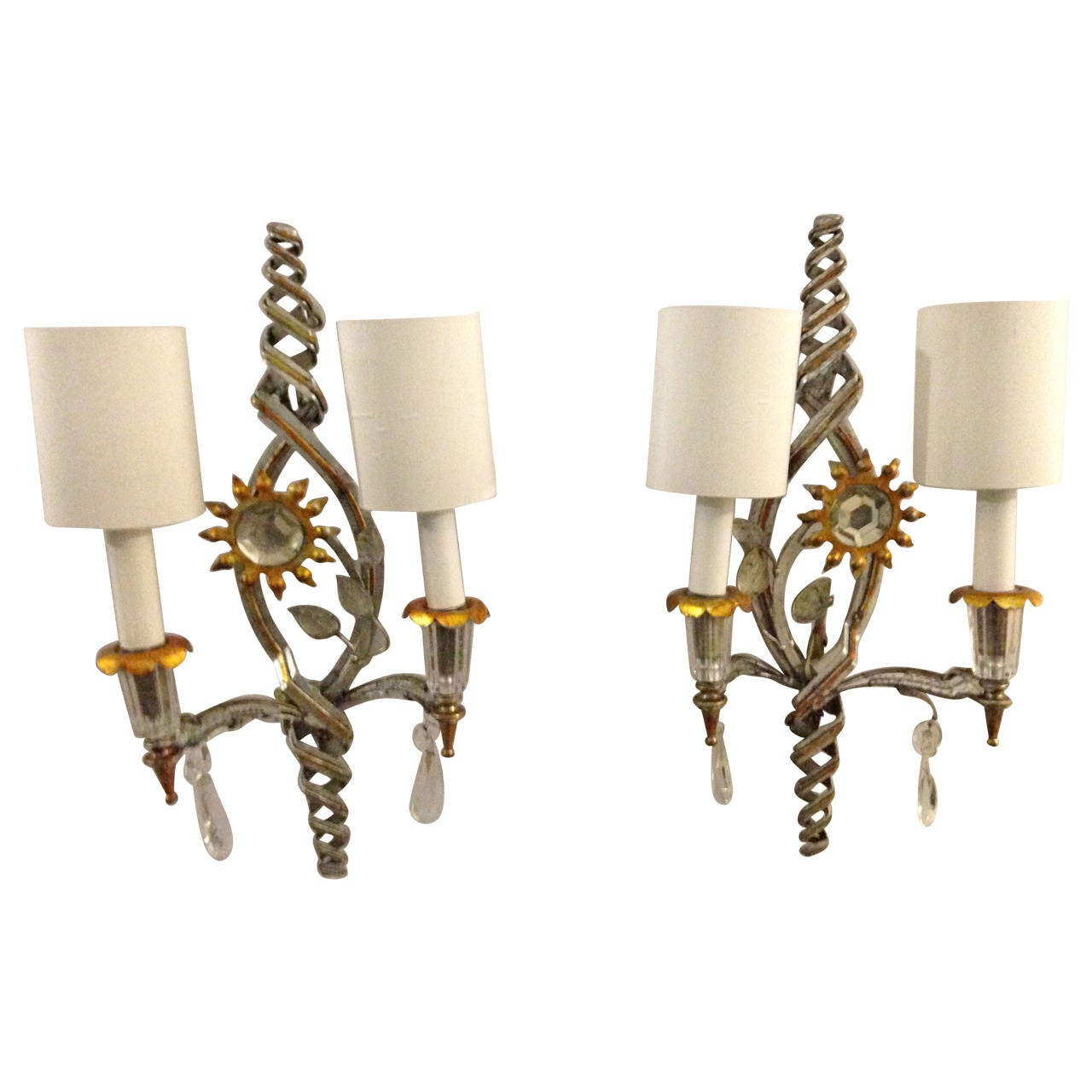 Small White Wall Lights : Very Rare Pair of Bicolor Authentic Maison Bagues Wall Lamps at 1stdibs