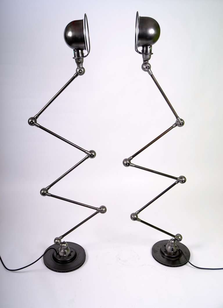 Industrial Pair of Vintage Jielde Floorlamps Motor Black For Sale