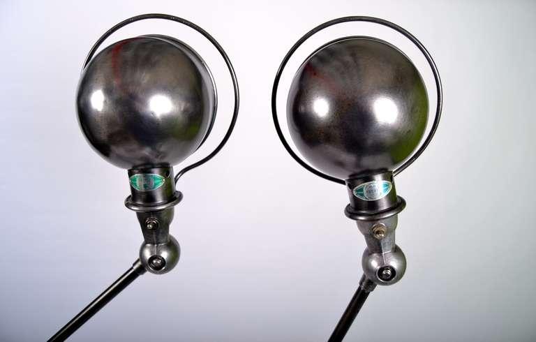 Mid-20th Century Pair of Vintage Jielde Floorlamps Motor Black For Sale