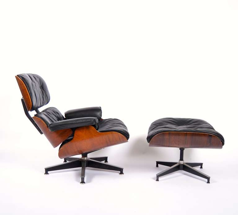 eames lounge chair with ottoman in rosewood at 1stdibs