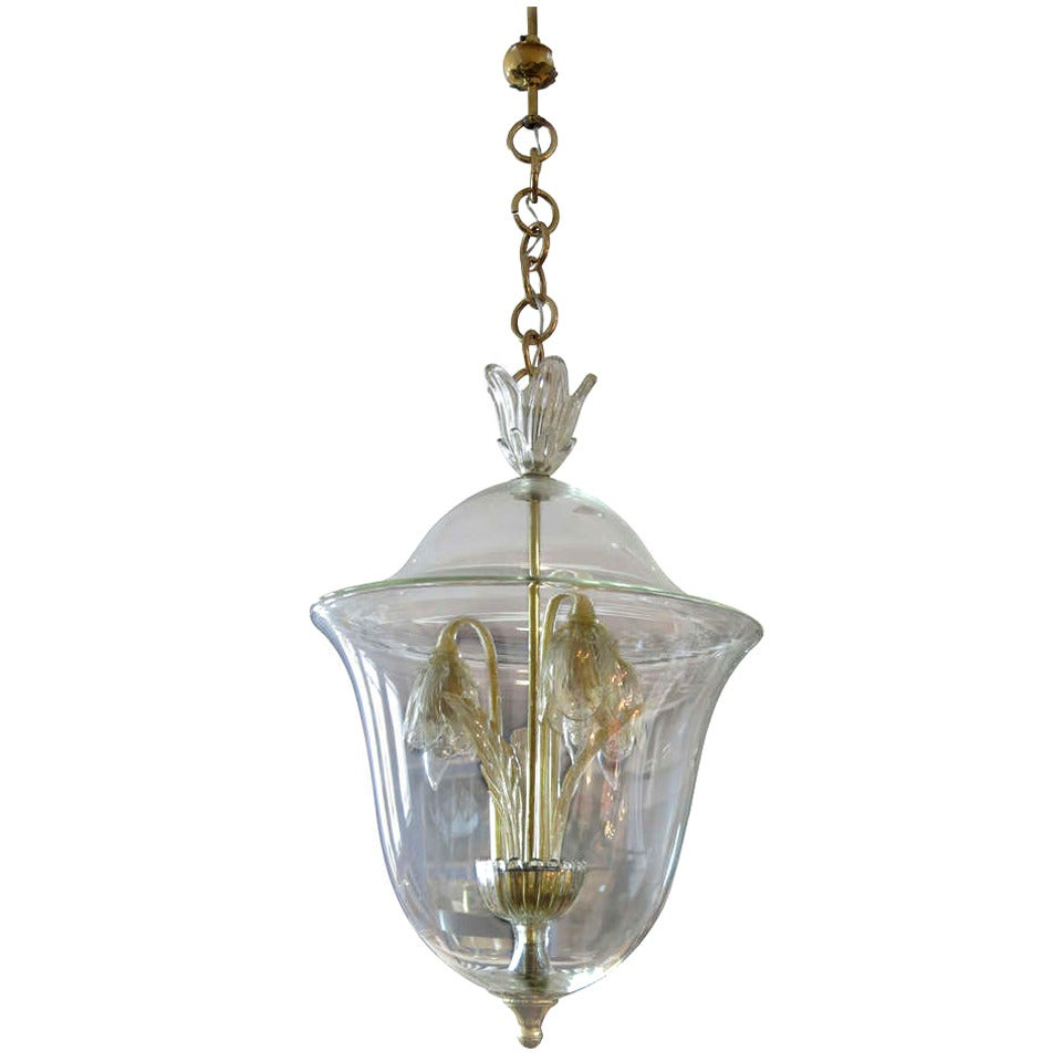 Venetian 1930s Lantern With Floral Lights In The Manner Of