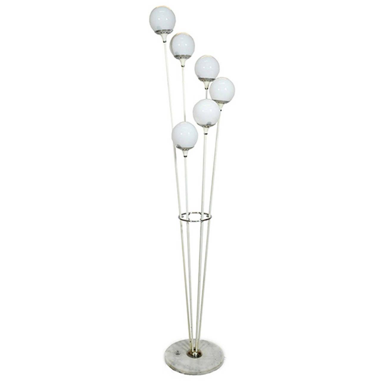 Chrome and white floor lamp at 1stdibs for Roosevelt 1 light floor lamp