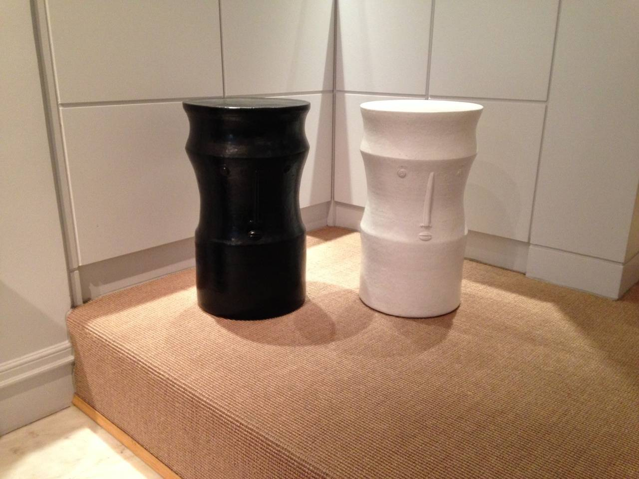 Pair of Ceramic Black and White Stools Signed by Dalo For Sale 1