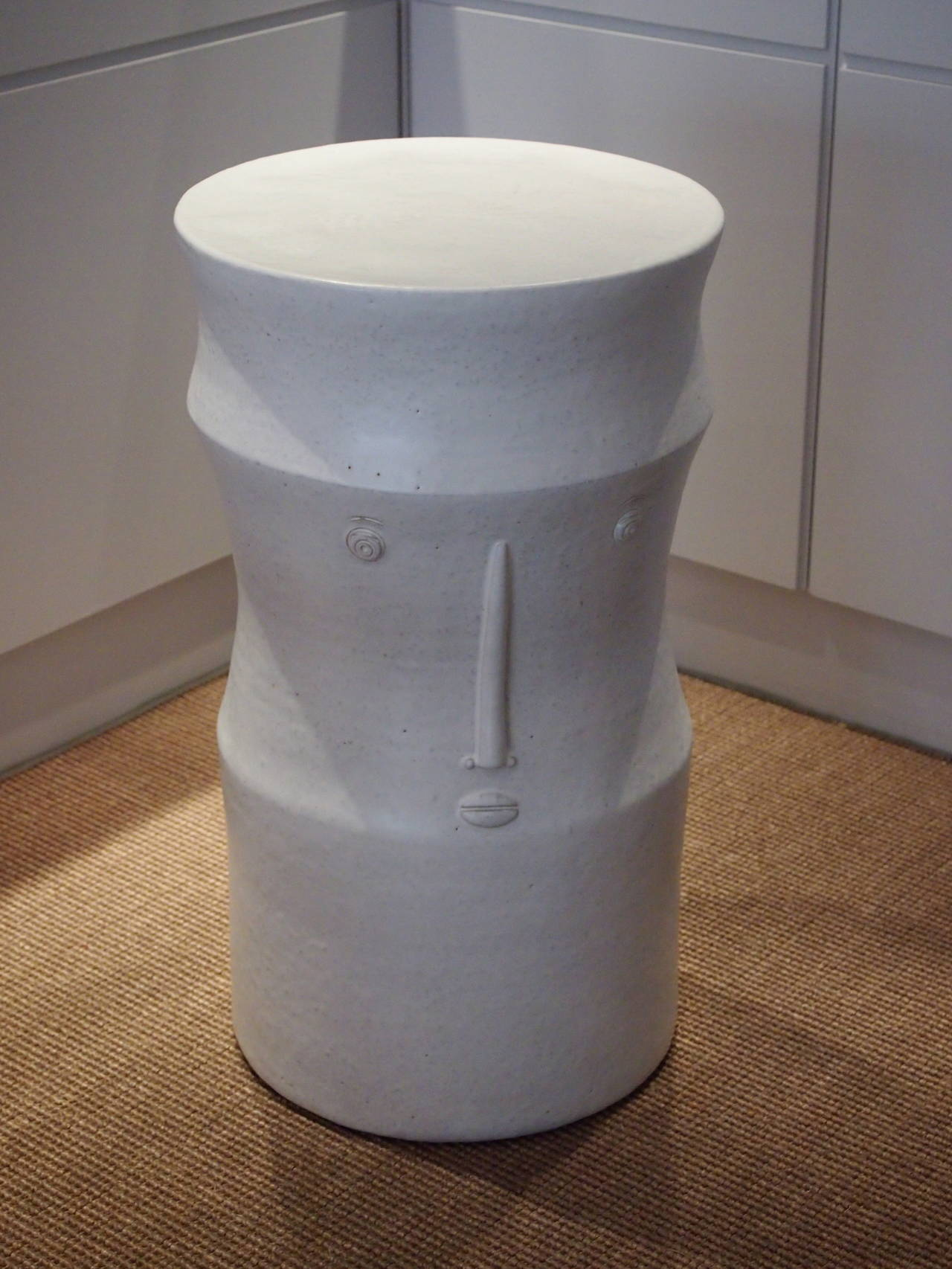 Pair of Ceramic Black and White Stools Signed by Dalo For Sale 2