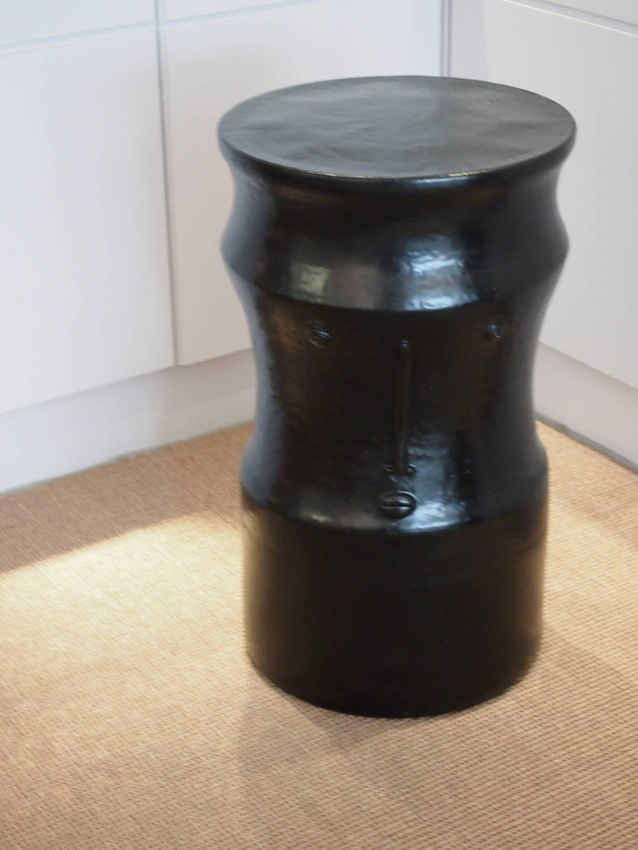 Pair of Ceramic Black and White Stools Signed by Dalo For Sale 3