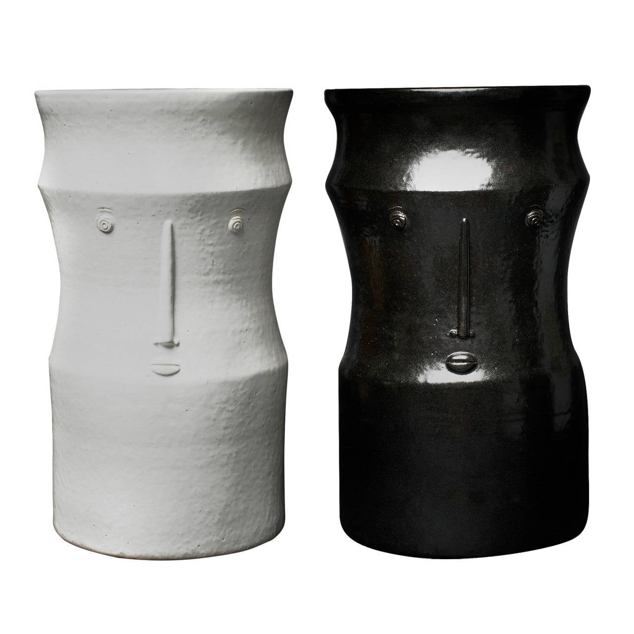 Pair of Ceramic Black and White Stools Signed by Dalo