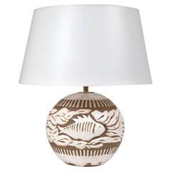 "Jean Besnard Ceramic ""Fishes"" Art Deco Table Lamp"