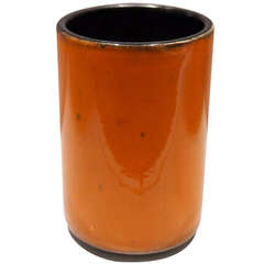 Cylinder Orange Ceramic Vase by Georges Jouve